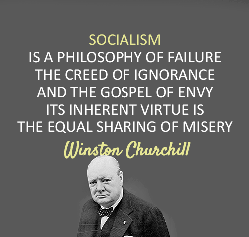 Winston Churchill Quote On Failure: Socialism Is The Philosophy Of Failure