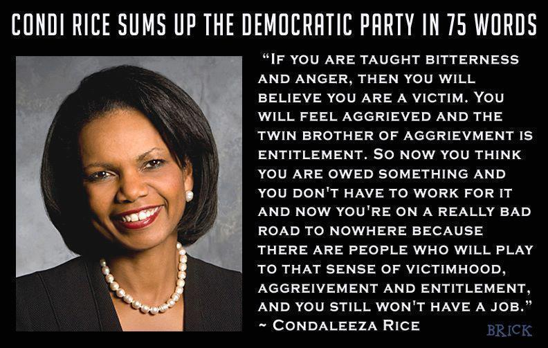 condi rice sums up the democratic party in 75 words Condi Rice Sums Up the Democratic Party in 75 Words