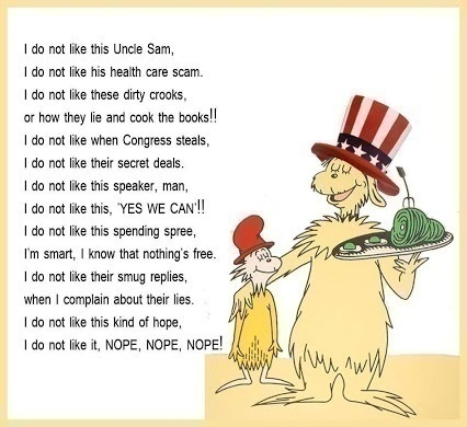 this Uncle Sam; I do not like his health care scam.  Political Humor
