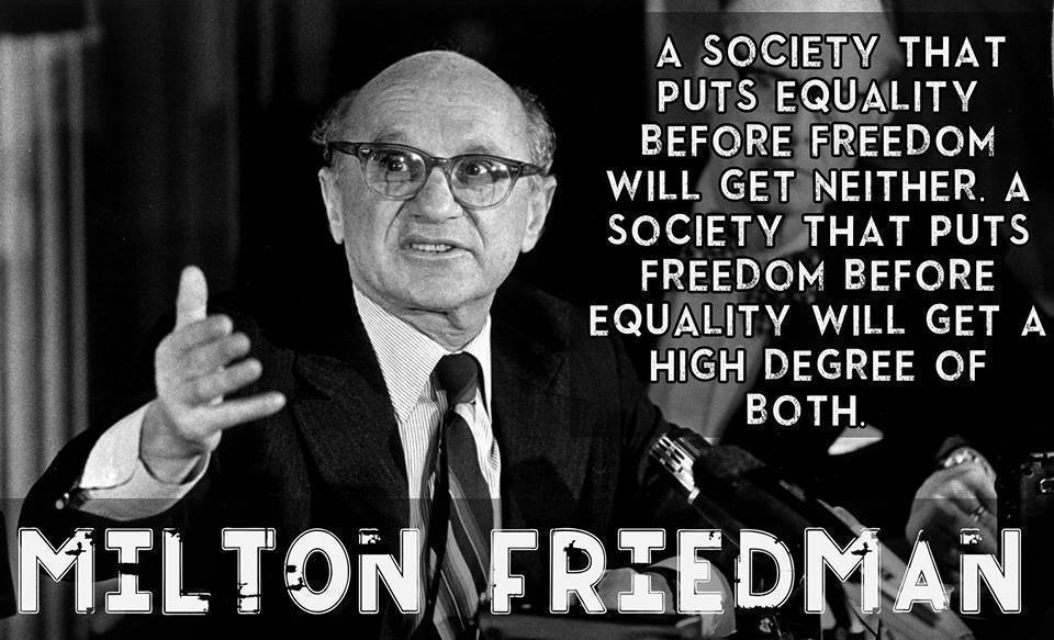 a society that puts equality before freedom will get neither a society that puts freedom before equality will get a high degree of both A society that puts equality before freedom will get neither. A society that puts freedom before equality will get a high degree of both.
