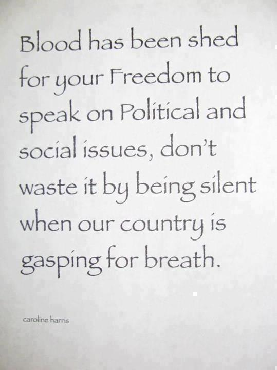 Blood Has Been Shed for Your Freedom to Speak on Political and Social Issues.